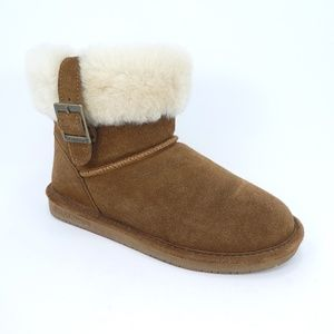 BearPaw Abby Brown Suede Sheepskin Wool Ankle Boot